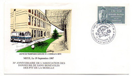 """1987--METZ--cachet 30° Anniversaire Donneurs Sang PTT  Moselle-tp Sutaxé"""" Bernard Halpern  ...à Saisir - Bolli Commemorativi"""