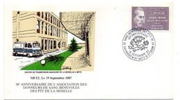 """1987--METZ--cachet 30° Anniversaire Donneurs Sang PTT  Moselle-tp Sutaxé """" Jacques MONOD """"  ...à Saisir - Bolli Commemorativi"""