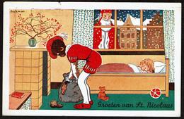 Carte Illustrateur Beckman - Groeten Van St Nicolaas / St Nicolas / Père Fouettard / Zwarte Piet - 1947 - Voir Scans - San Nicolás