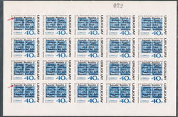 1966 URUGUAY MNH Imperforate Full Sheet Color Proof- Variety Shifted Overprint - 2a Muestra Y Jornadas Rioplatense-Yv747 - Uruguay