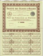 Titre Ancien -Société Des Agaves D'Agadir - Société Anonyme Chérifienne - Titre De 1930 - - Afrique