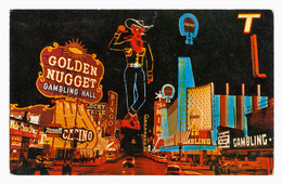 "Fremont Street Las Vegas Nevada ""Golden Nugget"" Casino By Night Vintage Postcard - Las Vegas"