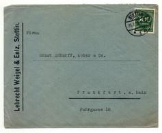 Firmen-Brief Ohne Inhalt, Lebrecht Weigel & Entz, Stettin 1926 Nach Frankfurt A. M. - Covers & Documents