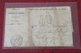 Direction De L' Administration Générale 08 AOUT 1872  DE Paris Pour Epernay Dommages De La Guerre Etrangère - Guerra Del 1870
