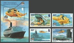 ASCENSION 2011 RAF SEARCH & RESCUE HELICOPTERS SHIPS SUBMARINES SET & SHEET MNH - Ascension