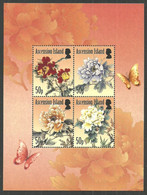 ASCENSION 2011 FLOWERS PEONIES PEONY BUTTERFLY M/SHEET MNH - Ascension