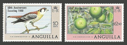 ANGUILLA 1980 SCOUTING 50TH ANNIVERSARY BIRDS SPARROWHAWK FRUIT SET MNH - Anguilla (1968-...)