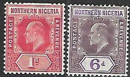 Northern Nigeria   1910   Sc#29 1d MH & #34 6d  MH  2016 Scott Value $10 - Nigeria (...-1960)