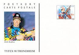 Norway Postal Stationary 1989 Eirik Kvalfoss, Gold Medal Winner 1984 Sarajevo Olympic Games W/print Tyfex 90 - Invierno 1984: Sarajevo