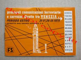 Principali Comunicazioni Ferroviarie E Carrozze Dirette Tra VENEZIA ( 1970 ) - Europa