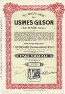 Titre Ancien - Société Anonyme Des Usines Gilson à La Croyère - Titre De 1949 - - Industrie