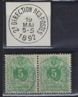 Liggende Leeuw Nr. 45 (2 X) Met BLAUWE Stempel DIRECTION DES POSTES En In Goede Staat ; ZELDZAAM ! LOT 390 - 1869-1888 Lion Couché