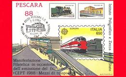 ITALIA - 1988 - Storia Postale - Cartolina Con Annullo Pescara '88 - Mostra Treni E Ferrovie - 1981-90: Storia Postale
