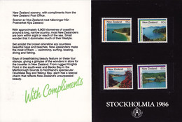 25910# NOUVELLE ZELANDE STOCKHOLMIA 86 1986 NEW ZEALAND SCENIC STAMP ISSUE - Unused Stamps