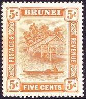 BRUNEI 1924 5c Yellow-Orange SG66 MH - Brunei (...-1984)