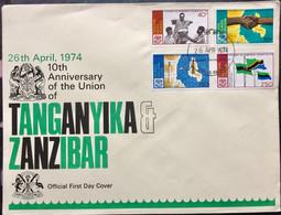 KENYA UGANDA TANZANIA 1974 FLAG , COMMUNICATION, MAP - Kenya (1963-...)