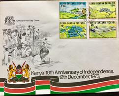 KENYA UGANDA TANZANIA 1973 FDC ELECTRIC SCHEME, AIRPORT, HOSPITAL,TEA FACTORY - Kenya (1963-...)