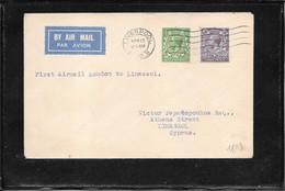 GB 1932, Ffc Liverpool-London-Limassol (ref 863) - Covers & Documents