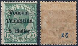 TERRE REDENTE 1918 TRENTINO ALTO ADIGE FRANC. TIPO MICHETTI SOPR. 'VENEZIA TRIDENTINA' H. 5 SU C. 5 - MNH ** SASSONE 28 - Trentino