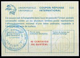GUATEMALA La22A  40 CENTAVOS DE QUETZAL International Reply Coupon Reponse Antwortschein IAS IRC O Direccion General De - Guatemala