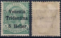 TERRE REDENTE 1918 TRENTINO ALTO ADIGE FRANC. TIPO MICHETTI SOPR. 'VENEZIA TRIDENTINA' H. 5 SU C. 5 - SG (*) SASSONE 28 - Trentino