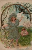 Belle Illustrée Gaufrée Et Dorée  . Petite Fille Aux Hirondelles - Abbildungen