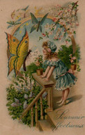 Belle Illustrée Gaufrée   . Petite Fille Aux Papillons - Abbildungen