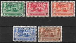 BARBADOS 1939 TERCENTENARY OF GENERAL ASSEMBLY SET SG 257/261 LIGHTLY MOUNTED MINT Cat £17 - Barbados (...-1966)