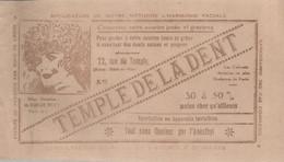 PZ / Rare BUVARD ANCIEN TEMPLE DE LA  DENT Dentition Dentiste  PARIS - Produits Pharmaceutiques
