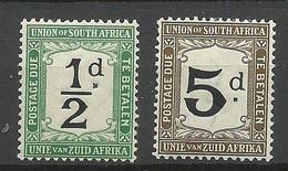 SÜDAFRIKA South Africa 1915 Michel 1 & 5 Postage Due Portomarken * - Postage Due