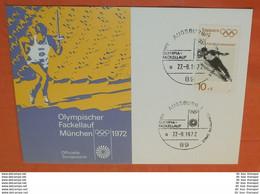 BRD 680 Skispringen Olympiade Sapporo SST /Cover: 89 Augsburg - Fackellauf 27.08.1972 --- Karte (2 Foto)(61027) - Brieven En Documenten