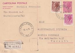 ITALIE 1972  ENTIER POSTAL/GANZSACHE/POSTAL STATIONERY CARTE RECOMMANDEE DE CASTELLANETA - Interi Postali