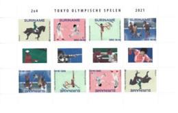 Suriname 2021, Olympic Games In Tokio, Horse Race, Fancy, Hockey, Sheetlet - Surinam