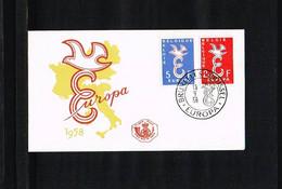 1958 - Belgium FDC - Cancel Bruxelles-Brussel - Europe CEPT [P15_785] - 1951-60