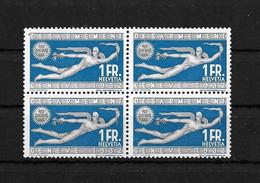 1939 Gedenkausgabe Abrüstungskonferenz →  SBK-190** Viererblock, OL Mit Grauem Punkt Abart 190.2.03 / +++ CHF 280.- - Neufs