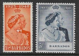 BARBADOS 1948 SILVER WEDDING SET SG 265/266 MOUNTED MINT Cat £18+ - Barbados (...-1966)
