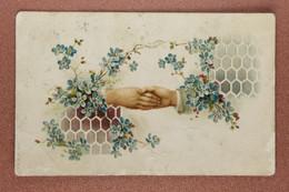 Antique Valentine Postcard Tsarist Russia Post Stamp Kamenets Podolsk 1914 Honey Honeycomb Wrist He + She - Dia De Los Amorados