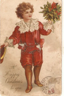 """""""Boy With Bouquet Of Flowers""""  Tuck Christmas Greetings Ser. PC # 1255 - Tuck, Raphael"""