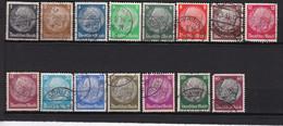 15  Timbres   Oblitérés   Deutsches  Reich   Germany 1932-33 Président Hindenburg - Used Stamps