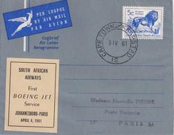 AFRIQUE DU SUD 1961    ENTIER POSTAL/GANZSACHE/POSTAL STATIONERY PLI AERIEN DE CAPE TOWN - Airmail