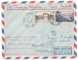 """SP ENVELOPPE FRANCE AVEC CACHET """" PREMIERE LIAISON PARIS-BRUXELLES PAR HELICOPTERE S.A.B.E.N.A. 3 MARS 1957 """" - Eerste Vluchten"""