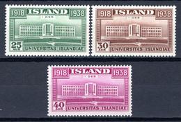 IJsland: 1938 - 20 Jaar Zelfstandig Koninkrijk, Mi 200-202 Postrfris / MNH - Unused Stamps
