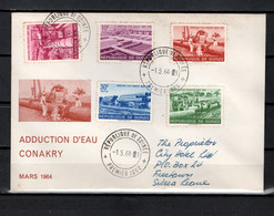 Guinea 1964 Michel 230-234 Water Pipeline To Conakry Set Of 5 On FDC - Guinee (1958-...)