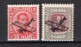 IJsland: 1928/1929 - Luchtpost Opdruk, Mi 122-123 Postfris / MNH - Unused Stamps