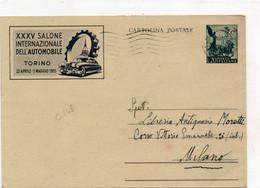 Cartolina Postale - XXXV SALONE INTERNAZIONALE DELL'AUTOMOBILE 1953 - VIAGGIATA - Interi Postali