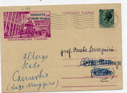 Cartolina Postale - FIERA DI PADOVA 1953 - RINVIATA A GIUGNO...... - VIAGGIATA - Interi Postali
