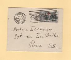 N°156 Croix Rouge Seul Sur Lettre De Paris Pour Paris - 18-10-1918 - 1877-1920: Semi-moderne Periode