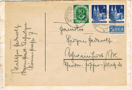 42073. Carta DARMSTADT (Alemania Federal) 1952. Franqueo Bizona Y Federal. Stamp NOTOPFER Berlin - Covers & Documents