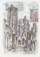 France Carte Maximum 1965 1453 Cathédrale De Bourges Flamme - 1960-69