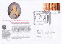Germany 2009 Postal Stationery Cover: Schiller Days; Literature; August Wilhelm IFFLAND; Actor; Writer; Meiningen - Altri